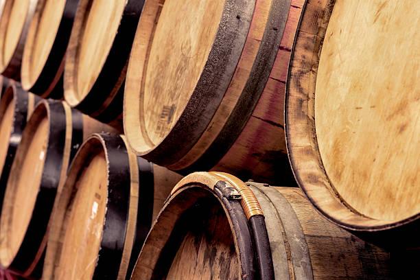 porto wine barrels stock photo