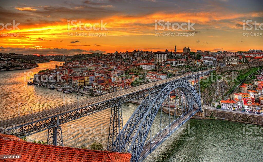Porto with Dom Luis Bridge - Portugal stock photo