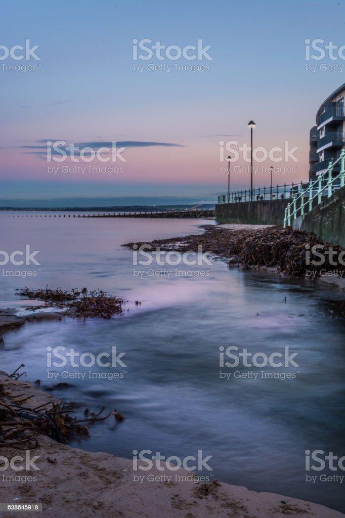 Portobello Beach Promenade dusk stock photo