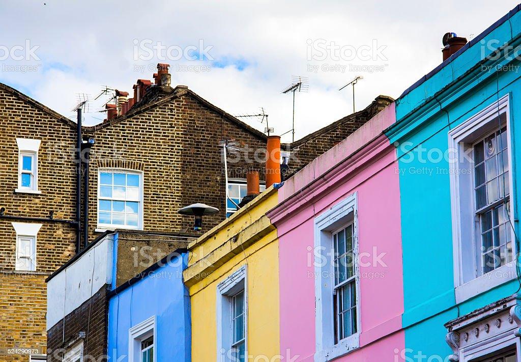 portobello road houses stock photo