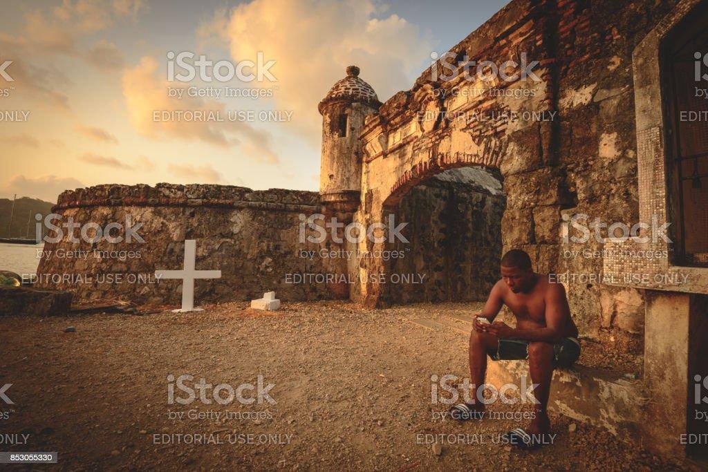 Portobelo Spanish ruins stock photo