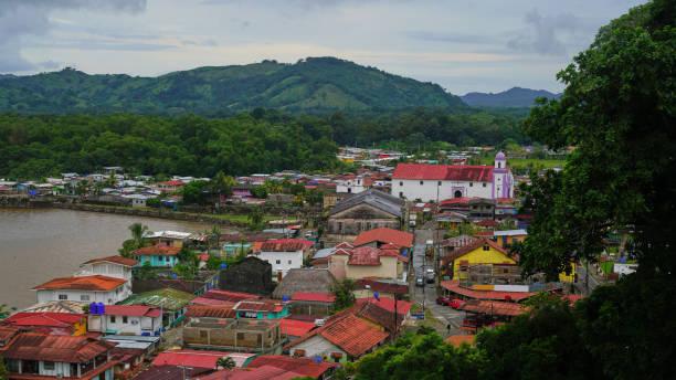 Portobelo top view in rain season stock photo