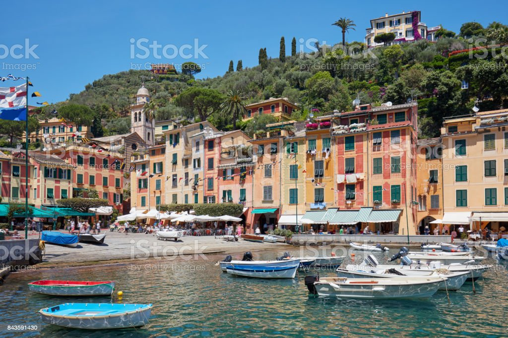 Portofino beautiful village with colorful houses and harbor in Italy in a sunny day stock photo