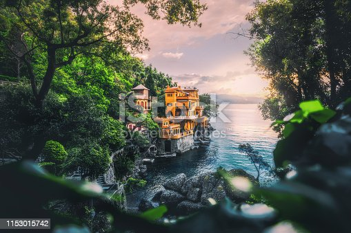 Beautiful nature landscape, seacoast with colorful houses at summer sunset time in Portofino, Italia