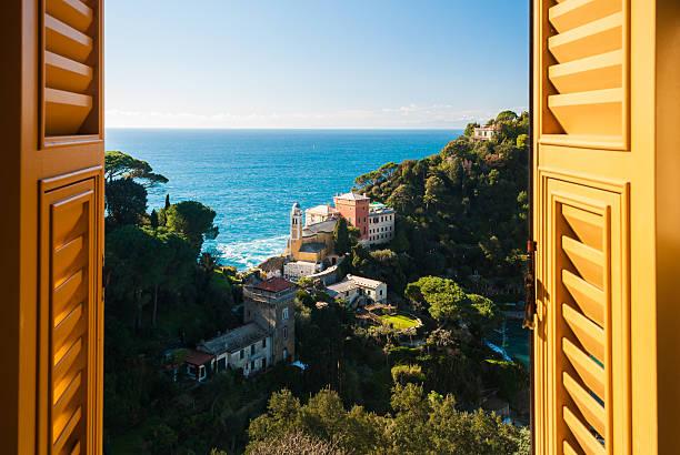 Portofino through a window stock photo