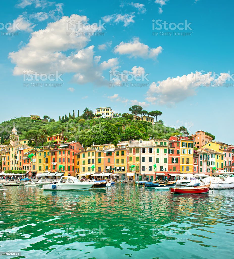 Portofino village on Ligurian coast, Italy, Mediterranean Sea stock photo
