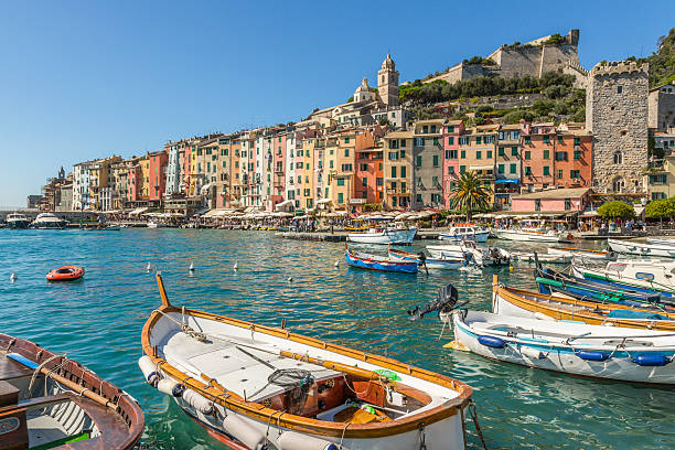 Portovenere harbour, Liguria, Italy stock photo