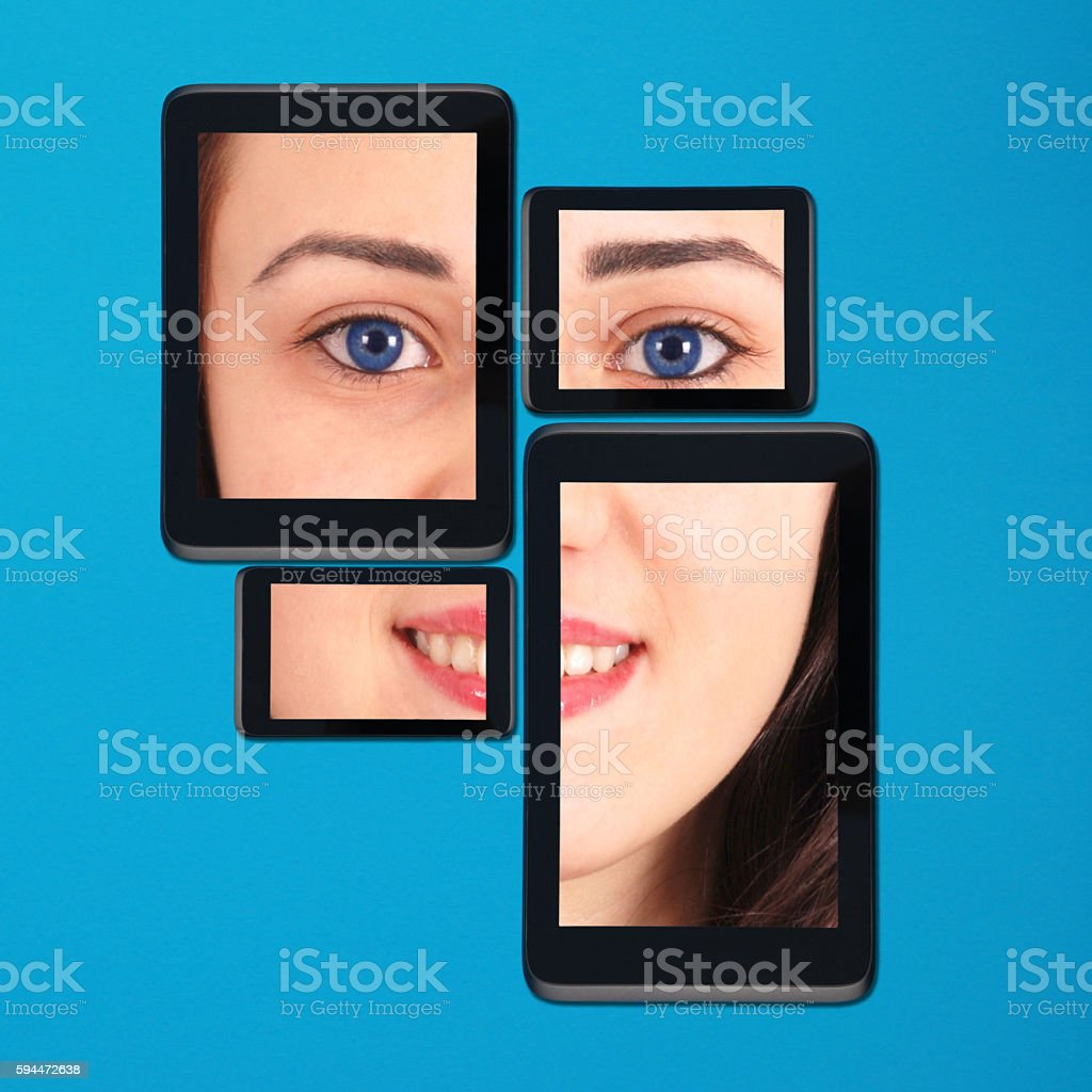 Portrain teenage girl on tablet pc and smartphone stock photo