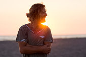 istock Portrait and sunset at the beach 528421708