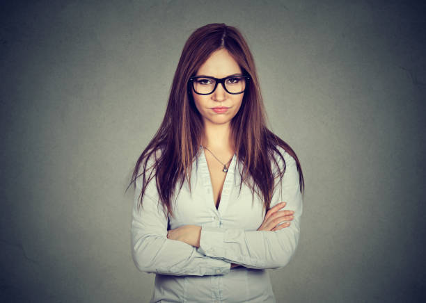portrait angry displeased woman stock photo