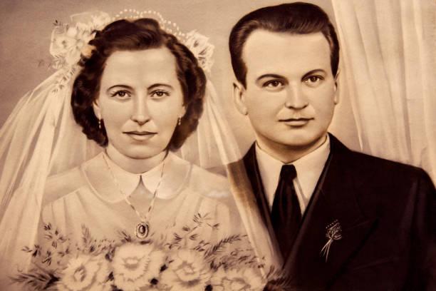 porträt antik verheiratet paar - hochzeitsbilder stock-fotos und bilder