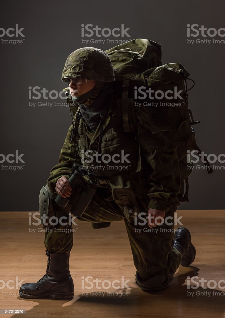 Portrait, armed woman with camouflage. War, military, army people, soldier. stock photo