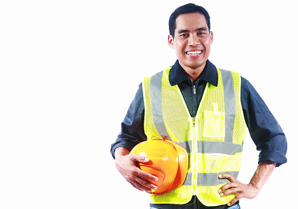 Porträt asiatische Ingenieur, isoliert auf weißem Hintergrund – Foto
