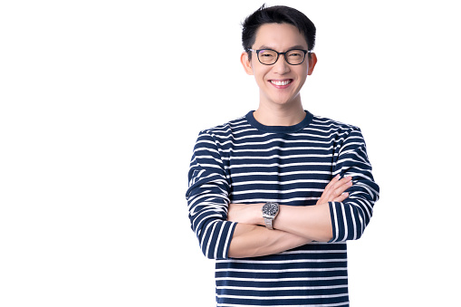 portrait asian glasses attrative male casual costime smile with cheerful and confident positive thinking posture isolate white background