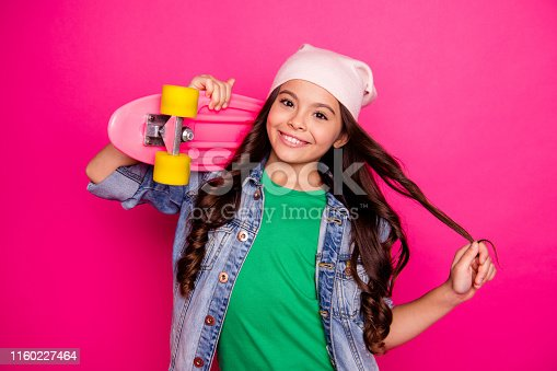 Portrait attractive pretty nice child active energetic daughter entertainment holidays hold hand dream dreamy confident touch hairdo, summer glad fashionable clothing stylish isolated pink background