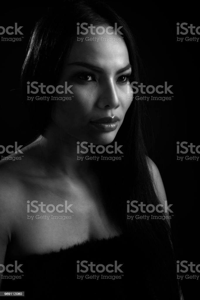 Portrait beautiful face young woman lonely. stock photo