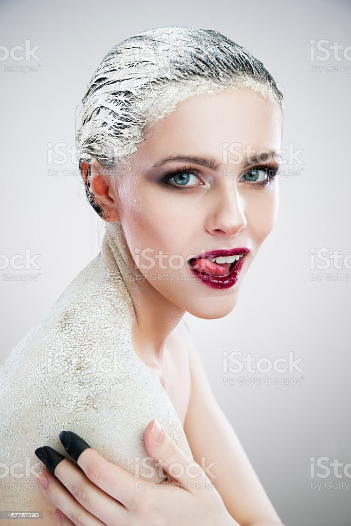 Portrait beautiful sexy woman with creative make-up close-up stock photo