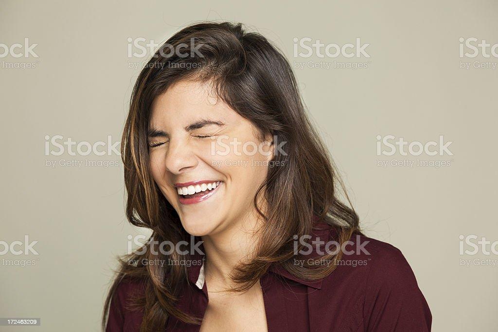 Portrait: Beautiful teenage girl laughing big royalty-free stock photo