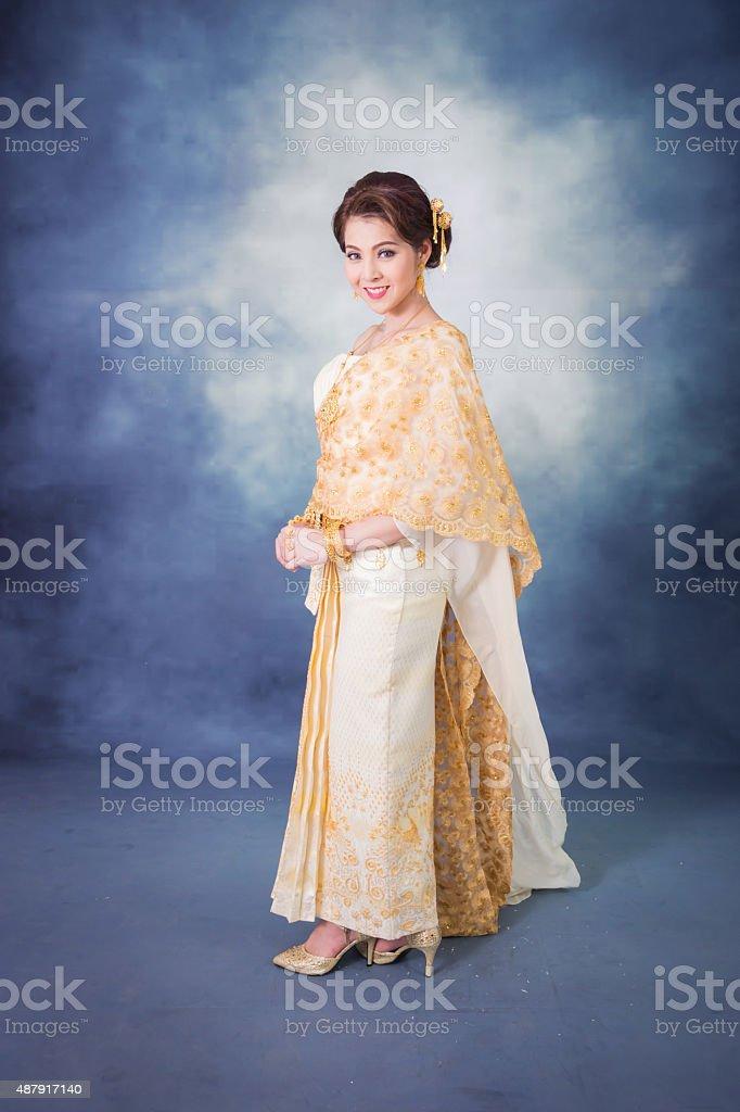 5795b8c41 Asia, Bangkok, Southeast Asia, Thailand, 2015. portrait beautiful thai woman  in vintage thai traditional costum royalty-free ...
