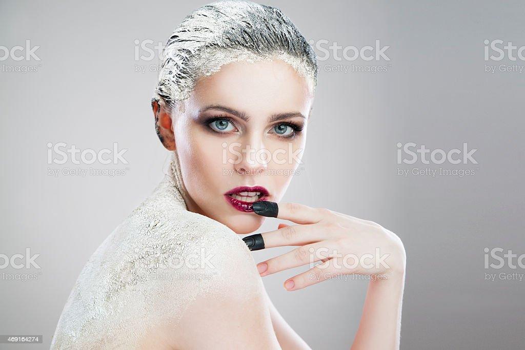 Portrait beautiful woman with creative make-up close-up stock photo