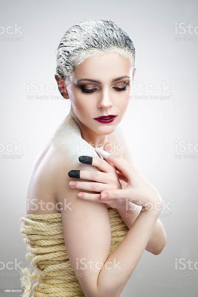 Portrait beautiful woman with creative makeup stock photo