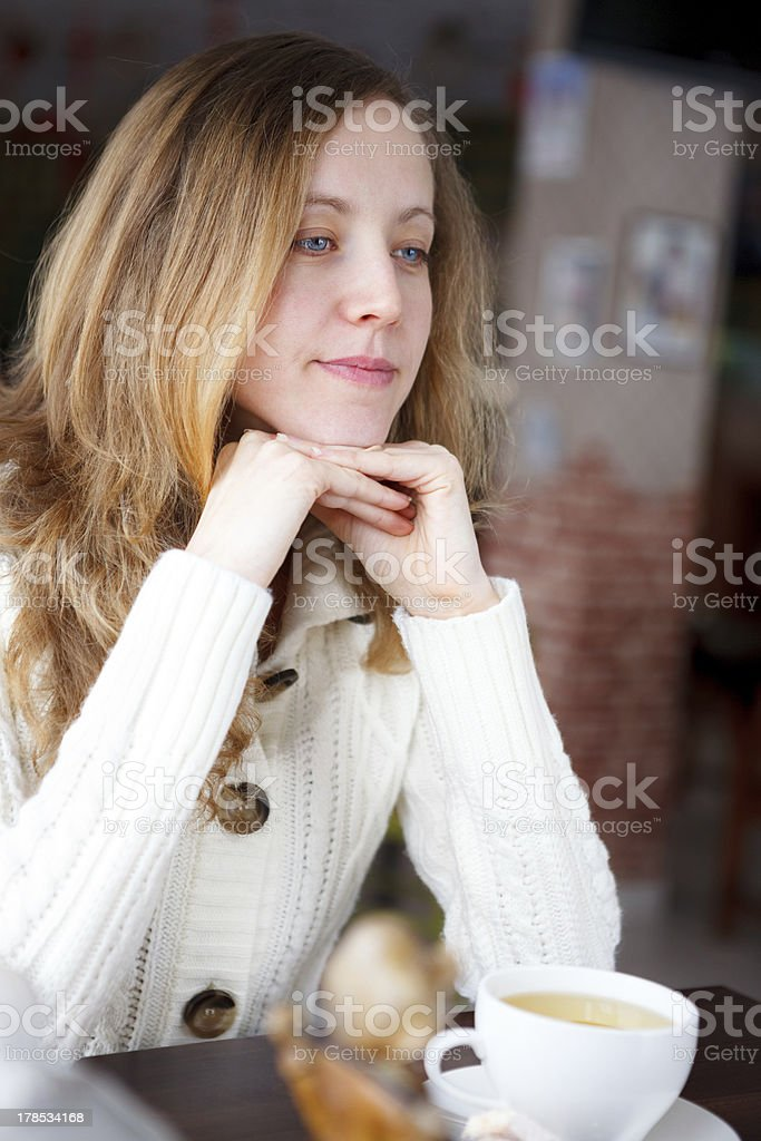 Portrait beautiful young woman with a cup of tea royalty-free stock photo