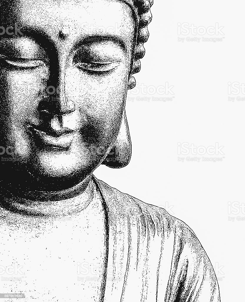 Portrait Black Buddha on white background stock photo