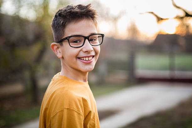 Portrait boy Photo of portrait boy outdoots 8 9 years stock pictures, royalty-free photos & images