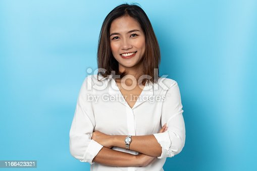 portrait business woman asian on blue background
