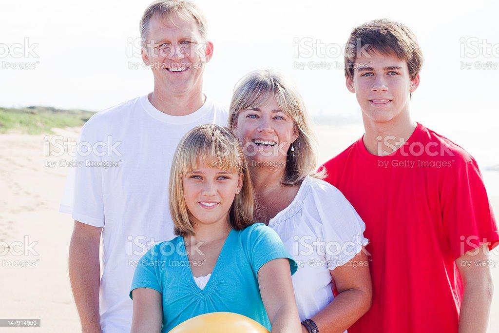 portrait Caucasian family of four royalty-free stock photo