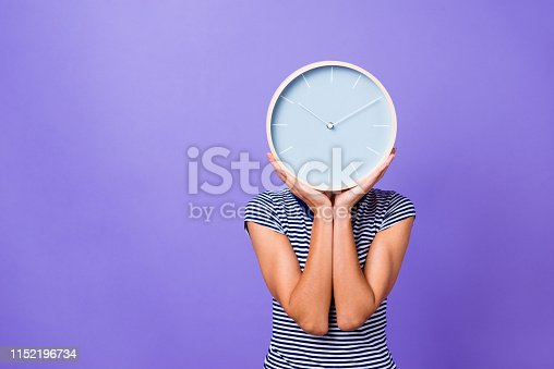 Portrait charming cute funny teen teenager overtime missed university future businesswoman entrepreneur pause morning concept hide head striped t-shirt youth clothes isolated violet background.