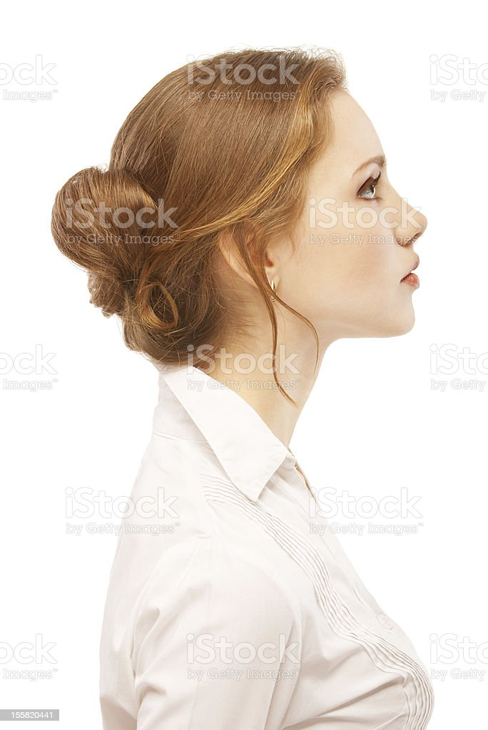 Portrait close up of young woman stock photo
