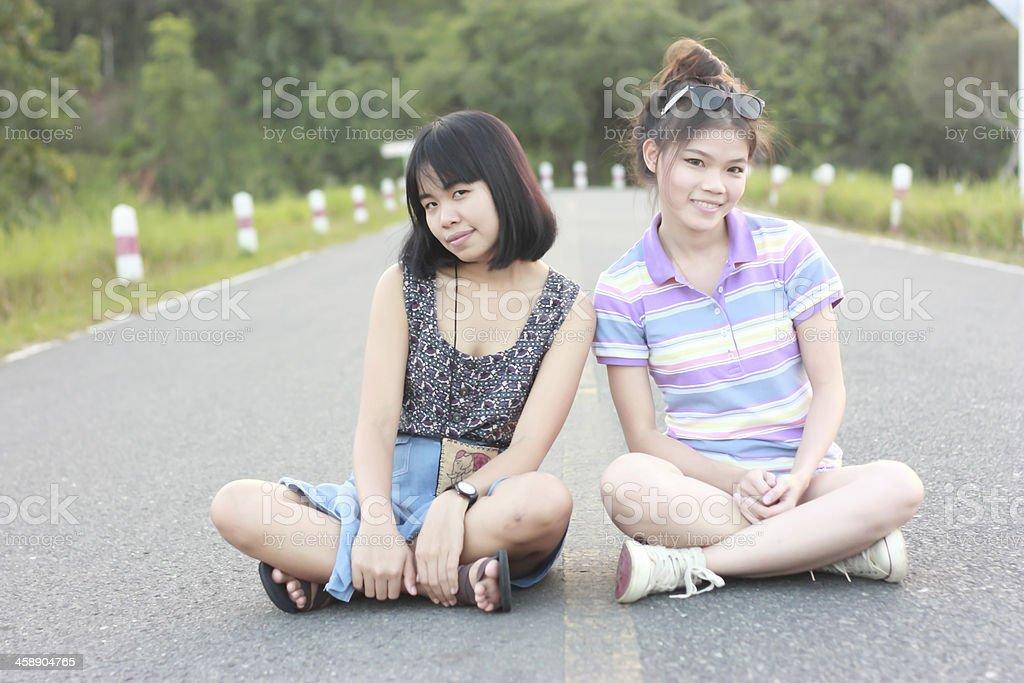 Portrait couple of women stock photo