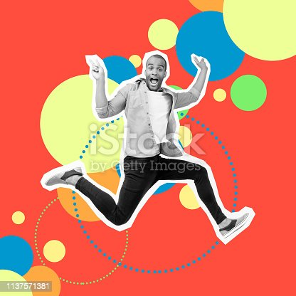 925466128 istock photo Portrait crazy funky he his him guy jump futuristic stylized illustration design casual shirt jeans denim painted into grey isolated different colored circles red yellow blue drawing background 1137571381