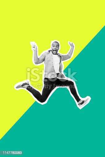 925466128 istock photo Portrait crazy funky he his him guy jump futuristic stylized illustration design casual shirt jeans denim painted into grey isolated different colored yellow green parted drawing background 1147780083
