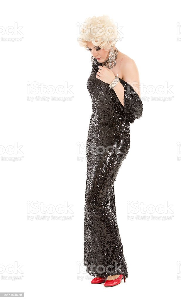 Portrait Drag Queen in Black Evening Dress Performing stock photo
