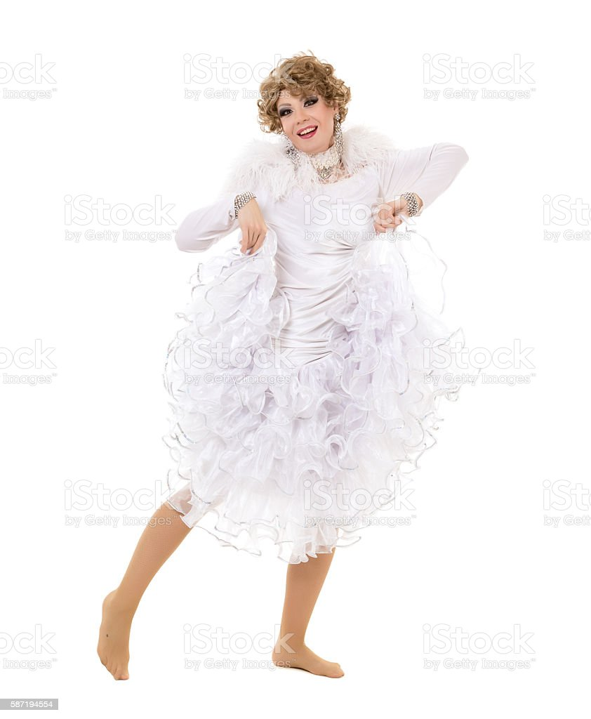 Portrait Drag Queen In White Dress Performing stock photo | iStock