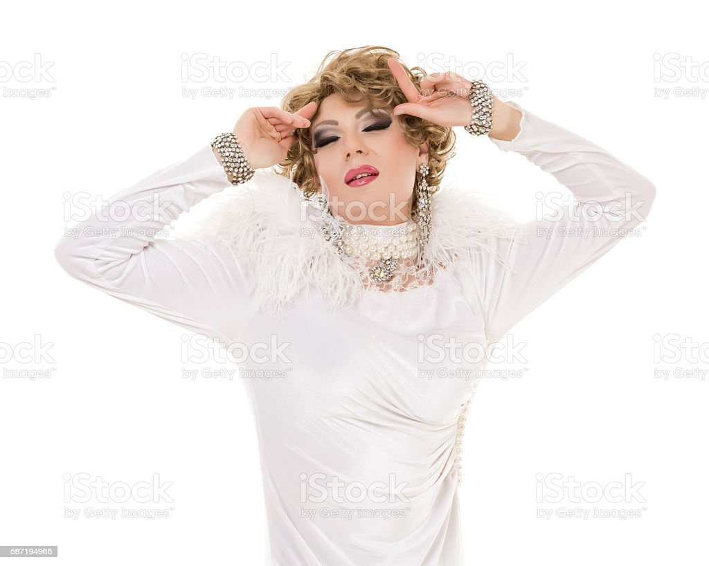 Portrait Drag Queen in White Dress Performing stock photo