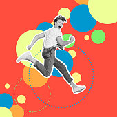 Portrait drawing he his him guy jump high rushing futuristic stylized illustration design casual jeans denim painted into grey isolated different colored circles red yellow blue green background