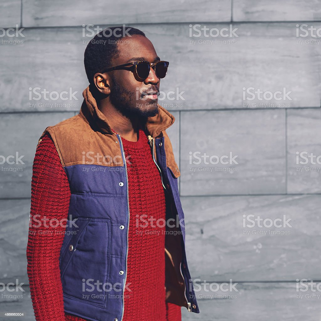 Portrait fashion stylish young african man in the city stock photo