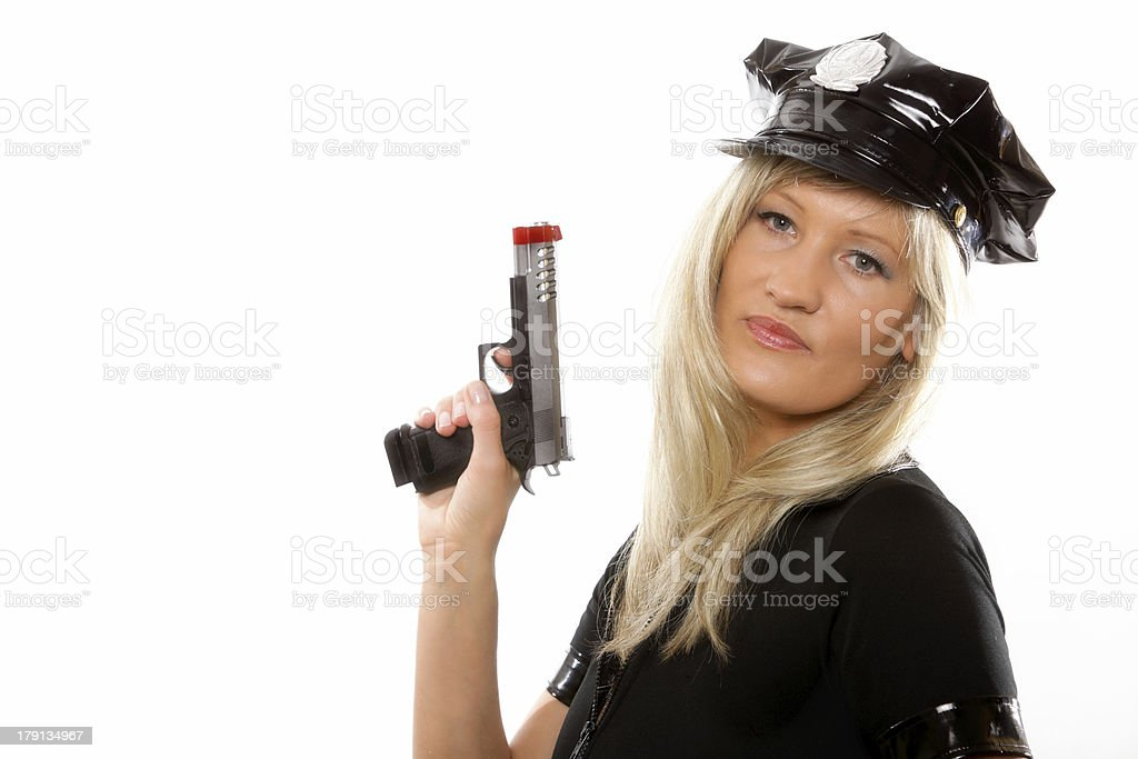 Portrait female police with gun isolated royalty-free stock photo