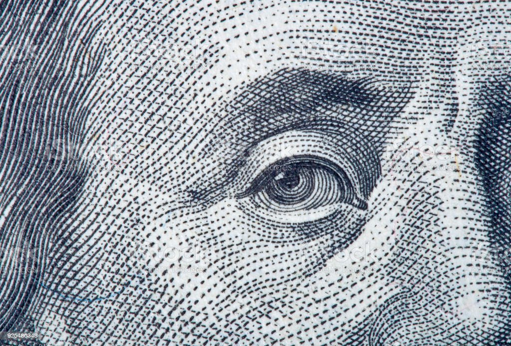 Portrait fragment of Benjamin Franklin stock photo