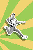 Portrait funky he his him guy man jump electric guitar hands excited futuristic stylized illustration design casual shirt jeans denim painted into grey isolated different colored drawing background