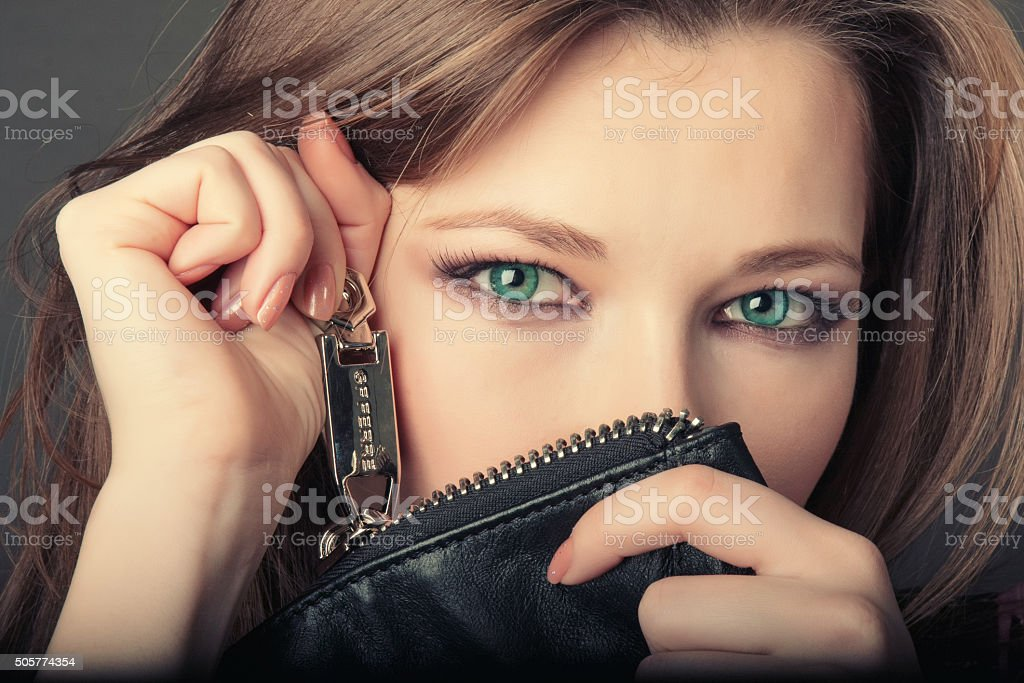 Portrait girl with green eyes stock photo