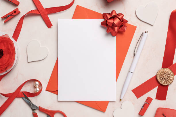 Portrait Greeting Card and Red Envelope Mockup Blank stock photo