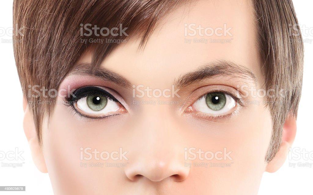 portrait half woman half man, make up stock photo