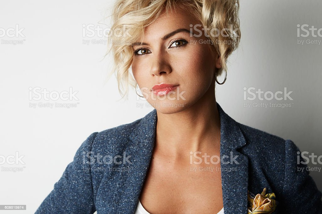 Portrait Handsome Young Woman Blonde Hair Wearing Blue Jacket Empty стоковое фото