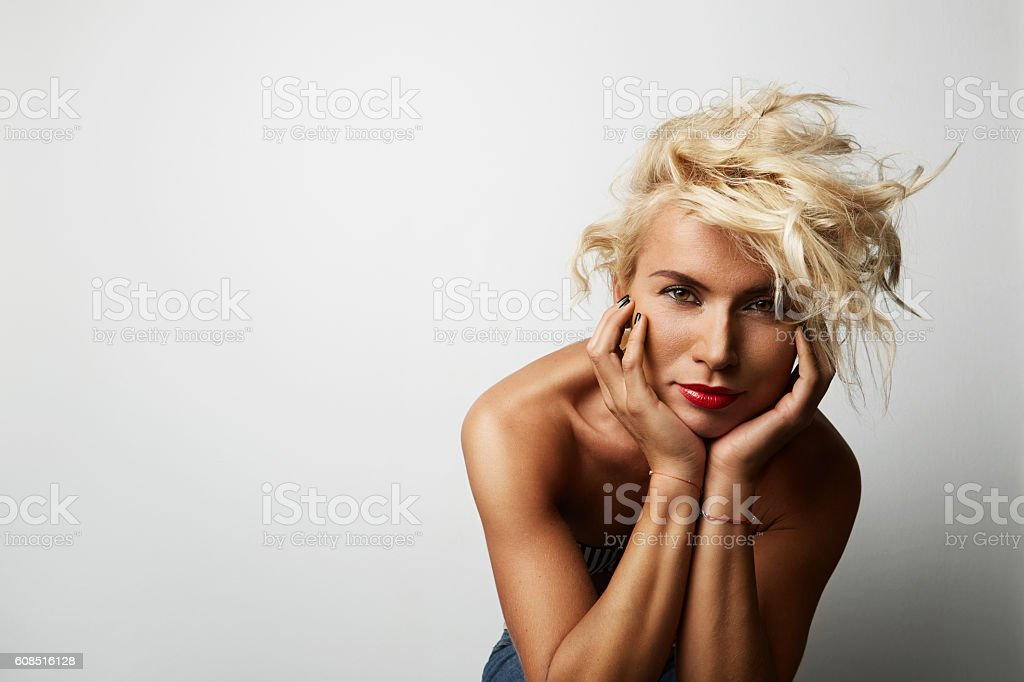 Portrait Handsome Young Woman Blonde Hair Wearing Dress Empty White стоковое фото