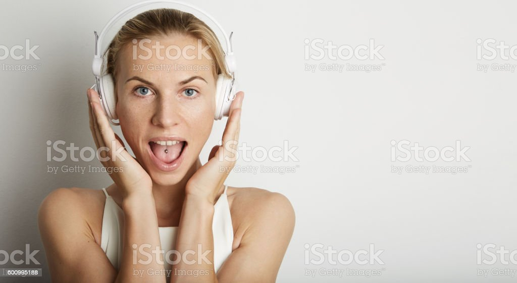 Portrait Handsome Young Woman Listening Music Player Headphones Blank White стоковое фото