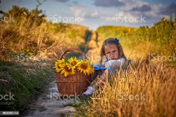 Portret Szczęśliwa Dziewczynka Dziecko Z Dużym Koszem Słoneczników - zdjęcia stockowe i więcej obrazów Boczna torba
